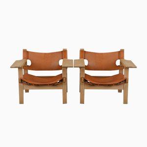 Sessel aus Eiche & Sattelleder von Hans J. Wegner für Federicia, 1960er, 2er Set
