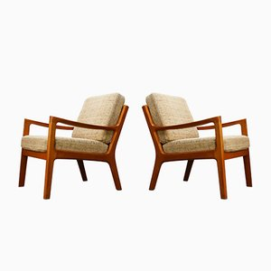Senator Lounge Chairs by Ole Wanscher for Poul Jeppesens, 1950s, Set of 2
