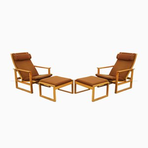 Mid-Century Model 2254 Lounge Chairs with Ottomans by Børge Mogensen for Fredericia, Set of 4