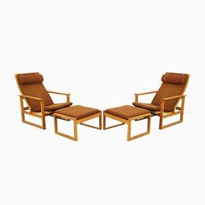 Mid-Century Modell 2254 Sessel mit Fußhocker von by Børge Mogensen für Fredericia, 4er Set