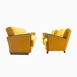 Mid-Century Yellow Living Room Set, 1950s