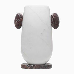 Vase Pietro en Marbre Michelangelo Blanc et Levanto Rouge par Matteo Cibic pour MMairo