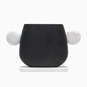Schwarze Tacca Vase aus Marquinia Marmor & Bianco Michelangelo von Matteo Cibic für MMairo