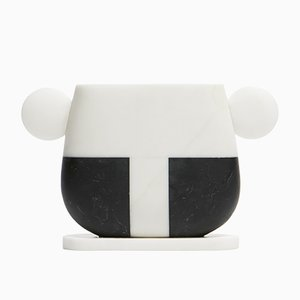 Tacca Vase in Bianco Michelangelo and Nero Marquina Marble by Matteo Cibic for MMairo