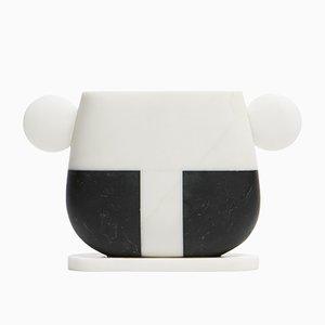 Vase Tacca en Marbre Marquinia Noir et Michelangelo Blanc par Matteo Cibic pour MMairo