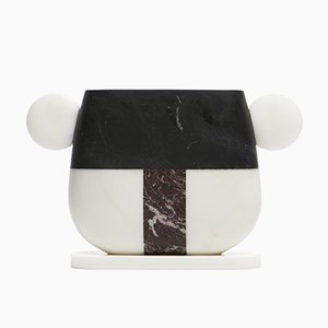 Notch Vase in Bianco Michelangelo, Nero Marquina and Rosso Levanto Marble by Matteo Cibic for MMairo