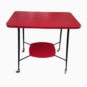 Tavolino vintage rosso e nero in vinile