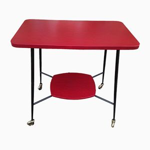 Vintage Red & Black Vinyl Side Table