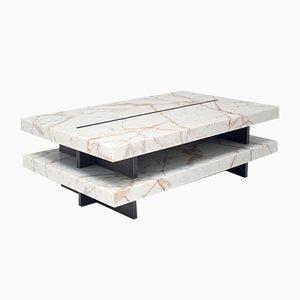 Tavolo ZIP! in marmo Calacatta oro e ottone di Stefano Belingardi Clusoni per MMairo