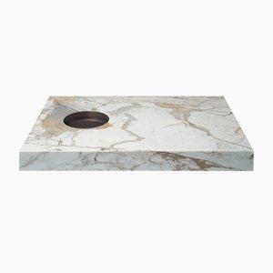 Mesa Scoop Fumo de mármol Calacatta dorado y latón de Stefano Belingardi Clusoni para MMairo