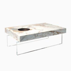 Scoop Tisch aus Gold Calacatta Marmor & Messing mit Plexiglas Gestell von Stefano Belingardi Clusoni für MMairo