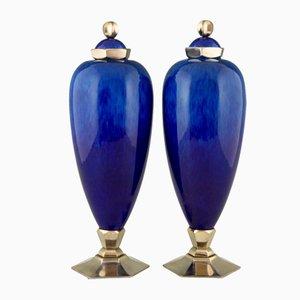 Vases Art Deco en Céramique par Paul Milet pour Sèvres, Set de 2