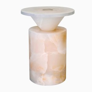 Totem Coffee Table in Onice Bianco Marble by Karen Chekerdjian for MMairo