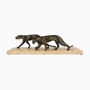 Art Deco Panther Skulptur von M. Font, 1930
