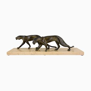 Art Deco Panthers Sculpture by M. Font, 1930s