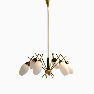 Lámpara de araña de latón de Stilnovo, años 50