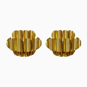 Brass Sconces by Werner Schou for Coronell Elektro, 1970s, Set of 2