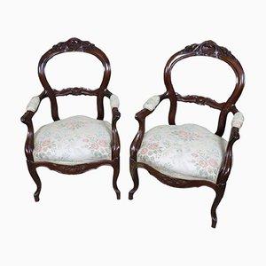 Antike Armlehnstühle aus Mahagoni, 1840er, 2er Set
