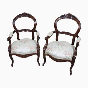 Antique Armchairs in Mahogany, 1840s, Set of 2