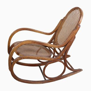 Rocking Chair in Curved Beech & Vienna Straw, 1940s