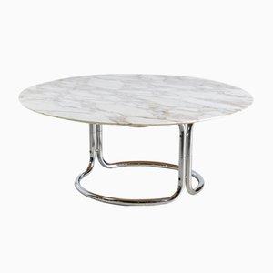 Tavolino rotondo con ripiano in marmo, anni '70
