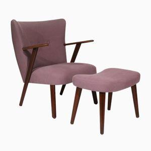 Dänischer Sessel aus Teak mit Fußhocker, 1950er