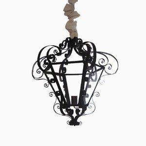 Lámpara farol francesa de hierro y vidrio, años 40