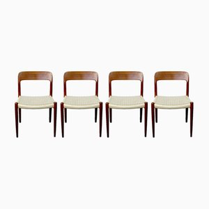 Model 75 Teak Dining Chairs by N. O. Møller for J.L. Møllers, 1960s, Set of 4