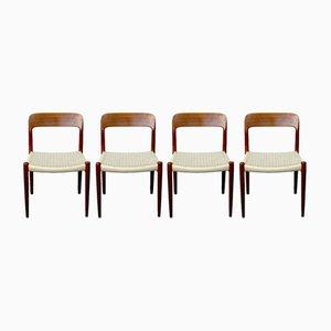 Modell 75 Esszimmerstühle aus Teak von N. O. Møller für J.L. Møllers, 1960er, 4er Set