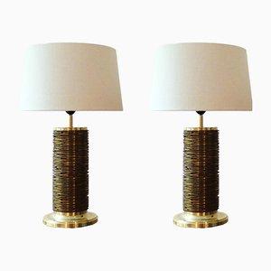 Lampes de Bureau Vintage en Laiton, Danemark, Set de 2