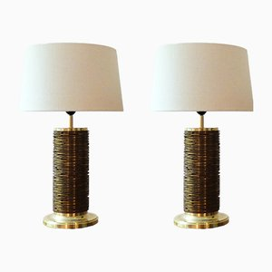 Vintage Danish Brass Table Lamps, Set of 2