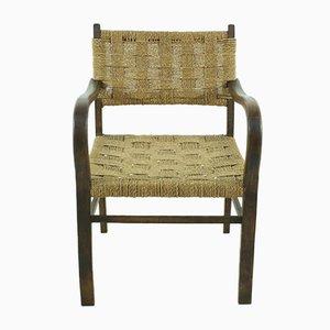 Vintage Armlehnstuhl mit Sitz aus Korbgeflecht, 1960er