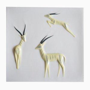 Plato de pared de porcelana de Peter Müller para Sgarfo Modern, años 60