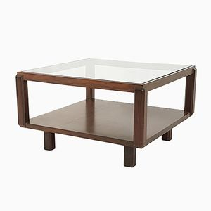 Square Italian Rosewood & Glass Coffee Table, 1960s