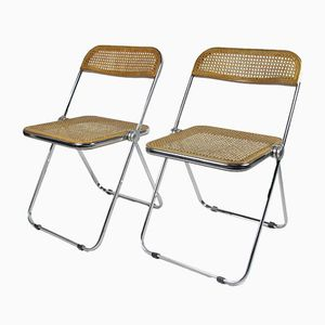 Caned Model Plia Chairs by Giancarlo Piretti, 1970s, Set of 2
