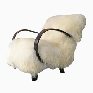 Art Deco Sheepskin Bentwood Lounge Chair by Jindřich Halabala, 1950s