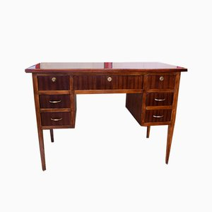 Italian Mahogany Desk with Seven Drawers, 1930s
