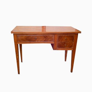 Italian Walnut Desk with Three Drawers, 1940s