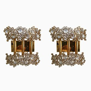 German Brass and Crystal Glass Sconces from Palwa, 1970s, Set of 2
