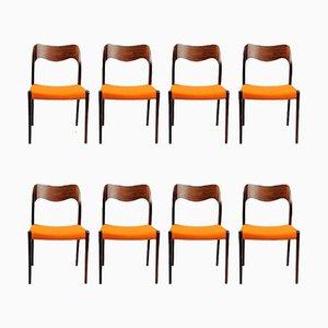 Chaises de Salle à Manger Modèle 71 en Palissandre par Niels Otto Moller pour J.L. Møllers, 1960s, Set de 8