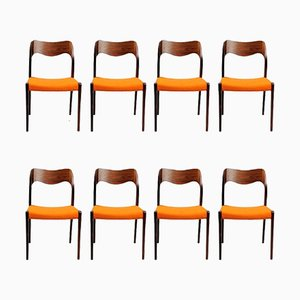 Model 71 Rosewood Dining Chairs by Niels Otto Moller for J.L. Møllers, 1960s, Set of 8