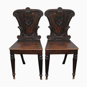 Oak Side Chairs, 1940s, Set of 2