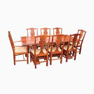 Mesa de refectorio de teca con 8 sillas de comedor, años 60