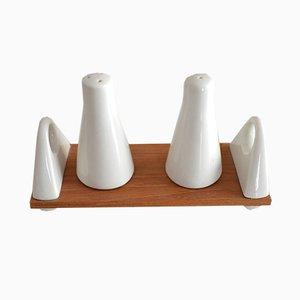 Juego de salero y pimientero de porcelana de Peter Müller para Sgarfo Modern, años 60