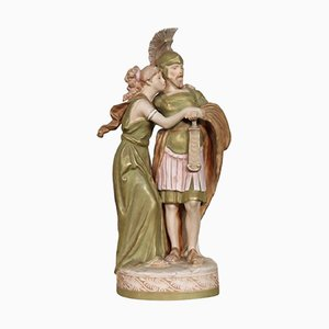 Porcelain Sculpture of Young Couple in Love from Royal Dux, 1920s