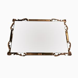 Specchio Art Deco vintage con bordo color pesca