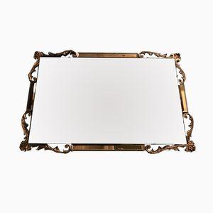Vintage Art Deco Beveled Mirror with Peach Glass Trim