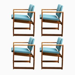 Danish Oak Framed Occasional Chairs, 1960s, Set of 4