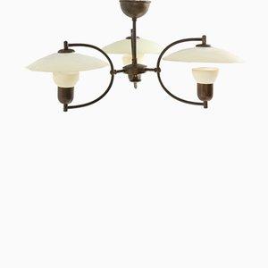 Lámpara de araña de latón y vidrio de Ernst Voss, años 60