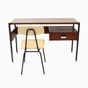 Italienischer Schreibtisch & Stuhl von Giuseppe Brusadelli, 1950er